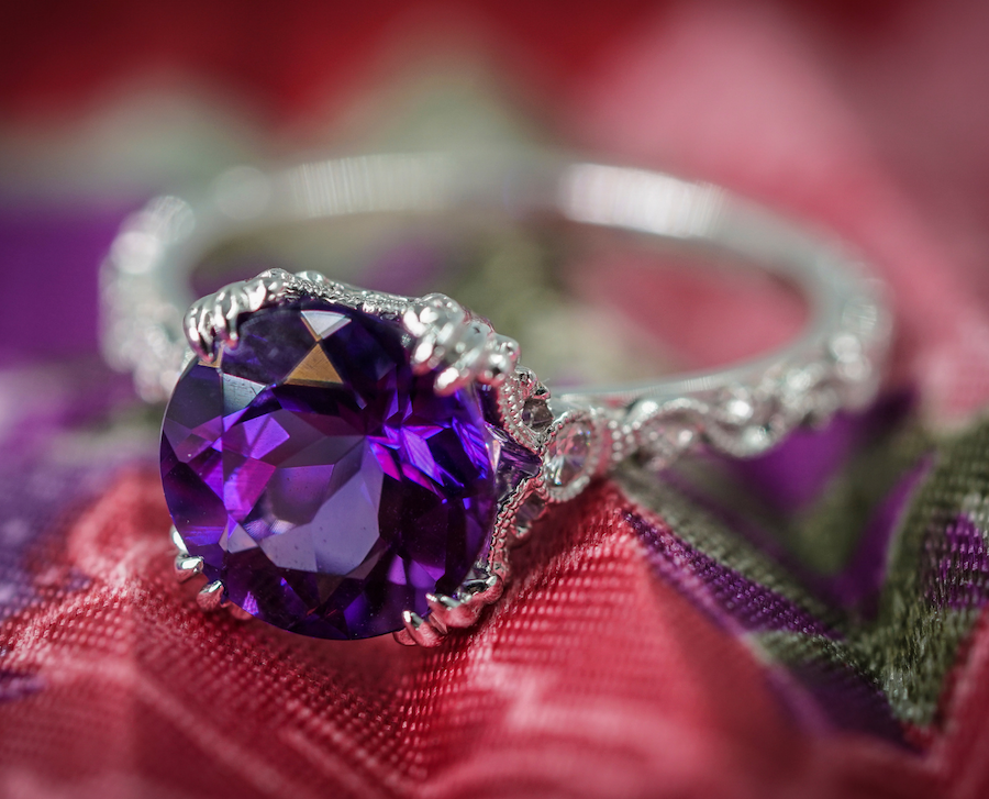 Amethyst ring with carved white gold band