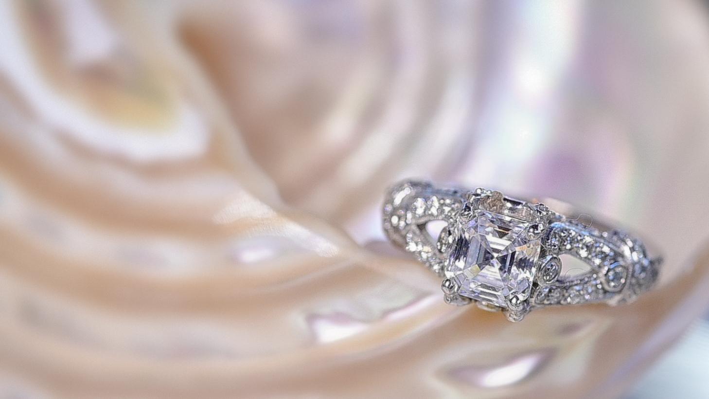 diamond ring on shell